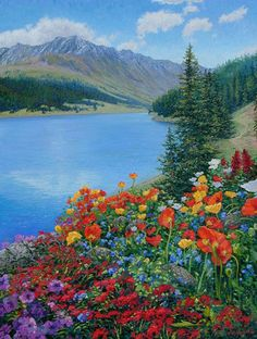 A mountain lake scene of overabudant blooming flowers and cloudy blue skies.. Original Painting