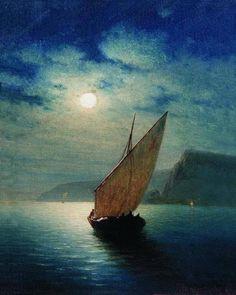 Moonlight Sailoing Art by Kondratenko Gavriil Pavlovich Russian Painting, Russian Art, Art Friend, Seascape Paintings, Moon Art, Strand, Moonlight, Artwork, Art Gallery