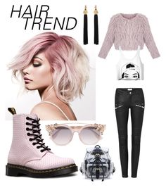 """PinkHairBirdsFly"" by alessandra0904 on Polyvore featuring beauty, Dr. Martens, Jimmy Choo, Yves Saint Laurent, hairtrend and rainbowhair"