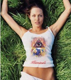 """Angelina Jolie     Imagery: One Eye symbolism on Pyramid overlooking earth, """"Illuminati"""""""