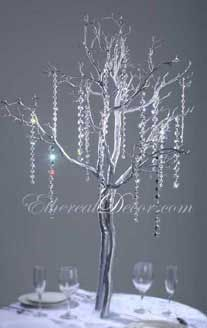 painted white or silver branches for outdoor wedding | or silver love this one