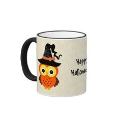 Halloween Owl with Witch Hat Ringer Coffee Mug