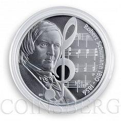 Tuvalu, 1 dollar, Great Composer, Robert Schumann, silver proof coin, 2010