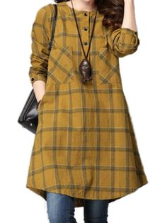 Women Checked Long Sleeve Plaid Grid Loose Casual Dresses