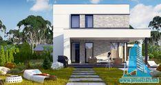 Proiect de casa cu doua etaje,acoperis plat si terasa de vara amenajata la sol -100960     Proiectari si Constructii House Front Design, Design Case, Newfoundland, Outdoor Decor, Organic, Home Decor, Google, Houses, Modern