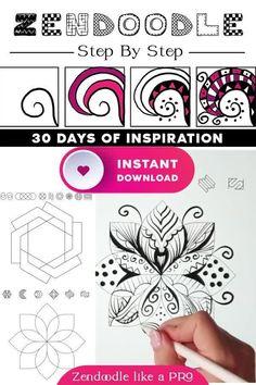 Easy Doodle Art, Doodle Art Designs, Doodle Patterns, Zentangle Patterns, Zen Doodle, Zentangle Drawings, Doodles Zentangles, Doodle Drawings, Art Drawings Sketches