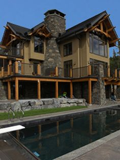 Residential Timber Home Bragg Creek, Create A Family, Timber House, Douglas Fir, Exterior Colors, Beams, Home And Family, Real Estate, House Design