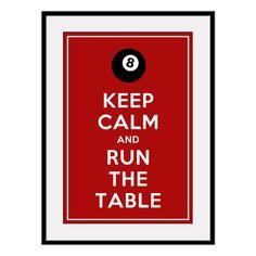 Keep Calm Billiards poster