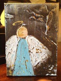 5x7x1.5 Blue Angel on gallery wrapped canvas on Etsy, $40.00