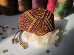Brown Wristband Bracelet with Glass Beads Macrame Handmade. $32,00, via Etsy.