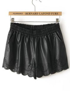 Black Elastic Waist Hollow PU Leather Shorts pictures