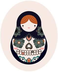 Gorgeous illustration of a Russian (babuska/ nesting) doll. Blue headscarf/ dress, flowers and hearts on front, shaped like a smile.