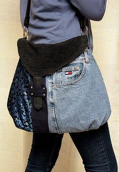 Denim patchwork bag (DIY inspiration for flap and unique closure.)