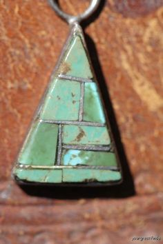 Rare Vintage Signed Navajo Sterling Silver Channelwork Turquoise Pendant Joe Chee.
