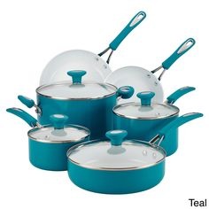 This Farberware Dishwasher Safe Nonstick Cookware Set is constructed from sturdy aluminum that heats quickly and evenly to help reduce hot spots that can burn food. The long-lasting, top-quality nonstick cookware interiors provide excellen Cookware Set, Bakeware, Cooking Utensils, Cooking Tools, Kitchen Utensils, Cooking Ware, Cooking Ideas, Kitchenware Set, Recipes