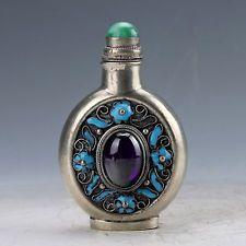 Collectible Handwork Turquoise Carved Phoenix Flower Rabbit Lucky Snuff Bottles