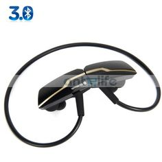 Free Shipping, Cheapest & Wholesale Price, Sports Wireless Bluetooth Stereo Headset Ear-hook In-ear Earphone Headphones with Mic for iPhone Samsung Cellphone PC Black - antelife.com