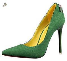 Passionow Women's Fashion Stylish Suede Anti-Slip Shallow Pointed Toe Slip-ons Stiletto High Heel Pumps (7 B(M)US,Green) - Passionow pumps for women (*Amazon Partner-Link)