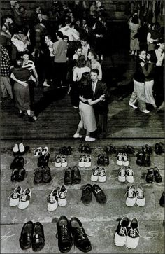 Sock Hop, 1948, I wonder how many people went home with the wrong shoes.