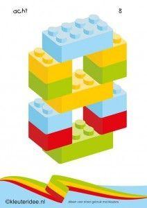 Cijfers van lego 1 -10 voor kleuters, nummer 8 , kleuteridee.nl , lego numbers for preschool 1-10 , free printable.