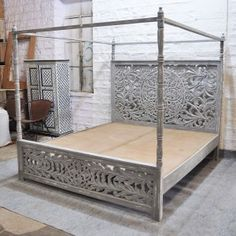 Dynasty hand carved Indian wooden 4 post bed frame Grey in 2020 Post Bed Frame, 4 Post Bed, Grey Bed Frame, Bed Frames, Bedroom Furniture, Bedroom Decor, Kitchen Furniture, Wooden Bedroom, Bedding Decor
