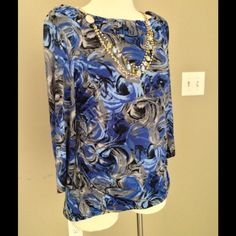 SOLD Style & Co long sleeve top Blue/ Black/ Brown paisley, with boat neck collar, stretchy material that is comfy and forgiving. No rips or tears, has only been dry cleaned!😄 Style & Co Tops