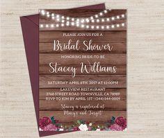 b82243babe15 Rustic Bridal Shower Invitation   Printable Burgundy Bridal Rustic Bridal  Shower Invitations