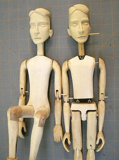 """ Atlanta based sculptor Tom Haney, maker of one-of-a-kind, hand-crafted automata, kinetic art, mechanical sculpture and other works of modern art. Wooden Puppet, Wooden Dolls, Marionette Puppet, Puppets, Puppetry Arts, Make And Sell, How To Make, Puppet Making, Adult Crafts"