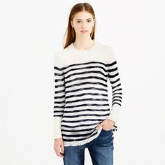 A perfect warm-weather sweater (for the winter vacation you've been meaning to book). It's airy and light, with a slightly open knit that creates a gauzy feel. The fact that it also has stripes (which we can never seem to get enough of) is just one more reason to pack your bags. <ul><li>Relaxed fit.</li><li>Hits below hip.</li><li>Polyacrylic/wool/mohair.</li><li>Rib trim at neck, cuffs and hem.</li><li>Dry clean.</li><li>Import.</li></ul>