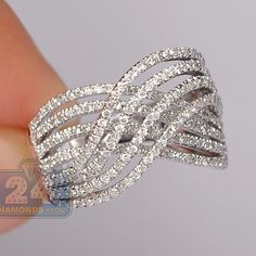 Womens 1.37 Carat Diamond Crossover Openwork Vintage Band Ring 14K White Gold