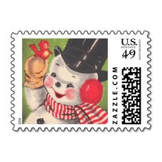 Vintage Christmas Snowman Postage | Visit the Zazzle Site for More: http://www.zazzle.com/?rf=238228028496470081