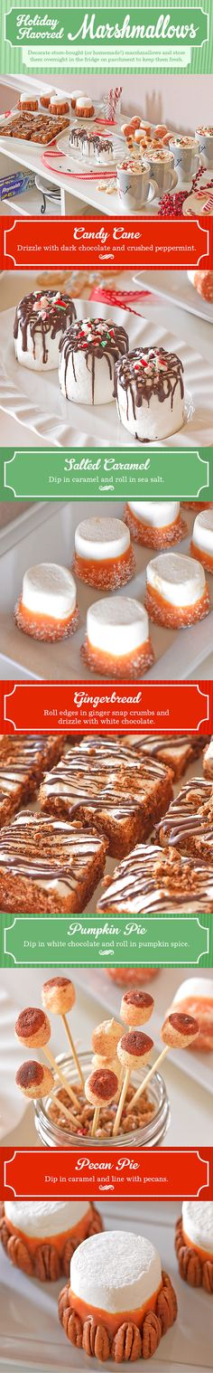 This holiday season, treat your sweet tooth to an amazing array of marshmallows that have a holiday touch to them with these delectable ideas for your next holiday get-together!