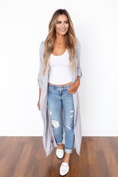 Grey Long Draped Cardi - Dottie Couture Boutique