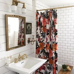 Currently inspired by the shower curtain and bathroom design of this charming Airbnb Colorful, patterned shower curtain / subway tiles / shiplap / gold fixtures Sweet Home, Interior Decorating, Interior Design, Decorating Ideas, Interior Modern, Design Case, First Home, My New Room, Style At Home