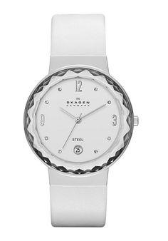 Skagen White Dial White Leather Women's Watch SKW2003