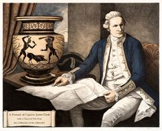 """Marian Maguire, """"A Portrait of Captain James Cook with a Classical Urn from the Collection of the Admiralty"""" Lithograph. Christchurch Art Gallery Te Puna o Waiwhetu, NZ Captain James Cook, Botany Bay, Australian Painting, New Zealand Art, Nz Art, Maori Art, Tribal Art, Printmaking, Art Gallery"""