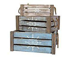Set de 3 cajas de madera – natural y azulado