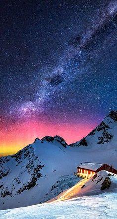 Aurora Australis and Milky Way over Mount Cook, New Zealand