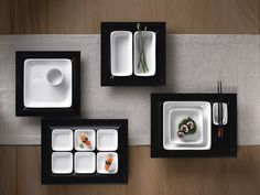 Unleash the imaginative power of contemporary cuisine using the dark showboards & stark white porcelain of Modulus by #BAUSCHER