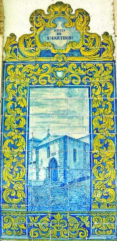Hand painted #Azulejo panel (St Martin church) in the rail ways station of Óbidos - Portugal