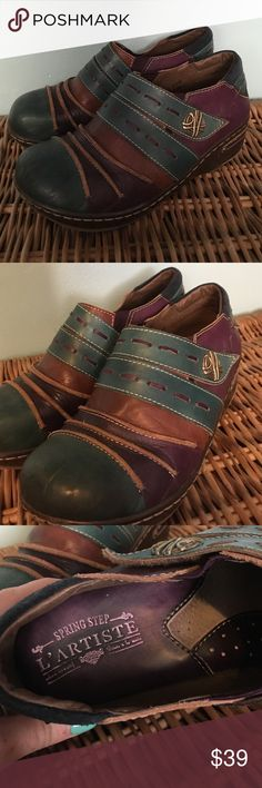 Leather clogs Purple teal and brown leather clogs by l'artiste 100% leather super soft interior leather and suede l'artiste Shoes Mules & Clogs