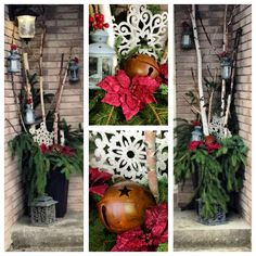 Front entrance Christmas decor.  DIY