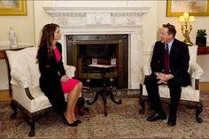 La reine Rania de Jordanie reçue par David Cameron à Londres, le 8 janvier 2016
