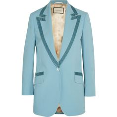Gucci Velvet-trimmed wool blazer (55 915 UAH) ❤ liked on Polyvore featuring outerwear, jackets, blazers, gucci, light blue, woolen jacket, blazer jacket, blue wool blazer, light blue jacket and blue blazer