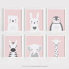 Pink Printable Nursery wall Art Set of 6 Poster Baby girl print Kids room decor Bear and Bunny Anima - Etsy - Welcome to the World of Decor! Baby Girl Room Decor, Baby Room Art, Kids Room Art, Baby Art, Art For Kids, Kids Rooms, Nursery Prints, Nursery Wall Art, Nursery Decor