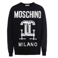 Moschino Double Capsules Print Womens Long Sleeves Sweater Black