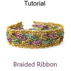 Braided Herringbone Beaded Bracelet Beading Pattern Tutorial Downloadable PDF Instructions   Simple Bead Patterns