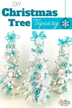 Cute DIY Christmas Tree topiary for your Christmas mantle or table by Southern Charm Wreaths Christmas Tree Topiary, Tabletop Christmas Tree, Christmas Wreaths, Christmas Crafts, Christmas Decorations, Blue Christmas, Christmas Centerpieces, Father Christmas, Christmas Ornaments