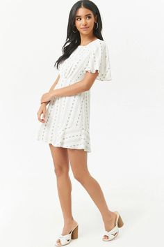 968a09d3c49eb Floral Tribal-Inspired Ruffle-Hem Mini Dress | Forever 21 College Closet,  Bell