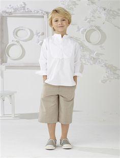 Ensemble garçon chemise et bermuda GRIS FONCE+TAUPE CLAIR - vertbaudet enfant